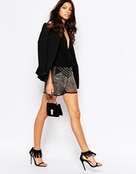 Mango All Over Premium Embellished Shorts Black