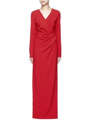 Lanvin Ruched Bow Waist Wool Blend Gown Red