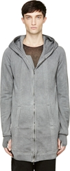 Ma Julius Grey Dusty Plaster Overlong Zip Up Hoodie