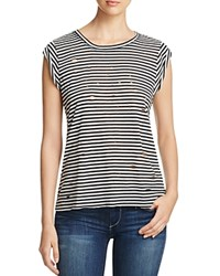 Able Usa Stripe High Low Holes Tee Compare At 60 Black White