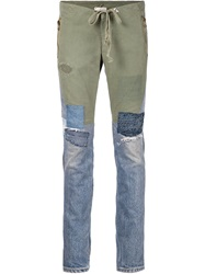 Greg Lauren Patchwork Skinny Jeans Green