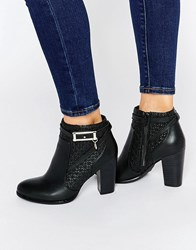 Faith Brooke Leather Heeled Ankle Boots Black Leather