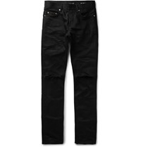 Saint Laurent Skinny Fit 17Cm Hem Distressed Denim Jeans Black