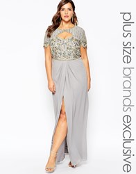 Virgos Lounge Plus Helena Embellished Sweetheart Top Maxi Dress With Thigh Split Grey