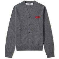 Comme Des Garcons Play Double Heart Cardigan Grey