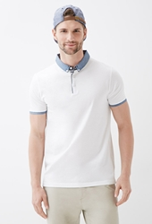 Forever 21 Colorblocked Cotton Polo White Blue