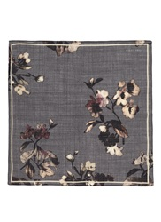 Boglioli Floral Print Wool Silk Pocket Square Grey Multi Colour