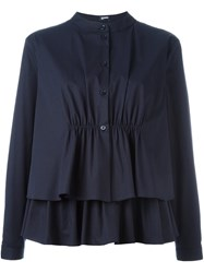 Jil Sander Navy Layered Peplum Shirt Blue