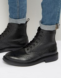Zign Leather Brogue Lace Up Boots Black