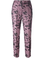 Christian Pellizzari Cropped Jacquard Trousers Pink And Purple