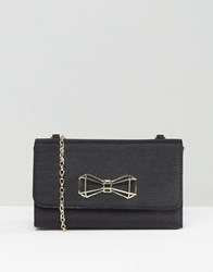 Ted Baker Satin Foldover Clutch Bag With Bow Detail Black
