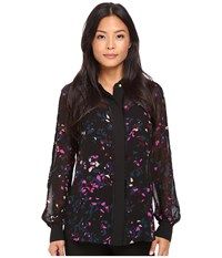 Ellen Tracy Pajama Shirt Reflection Multi Women's Pajama Black