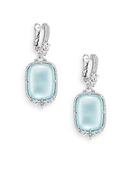 Judith Ripka Chantilly White Sapphire Blue Crystal Mother Of Pearl And Sterling Silver Drop Earrings Silver Blue