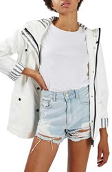 Topshop Women's 'Ivy' Hooded Jacket White Multi