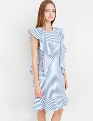 Pixie Market Striped Ruffled Dress By New Revival