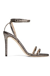 Jimmy Choo Momento Tizzy Textured Leather Sandals Gunmetal