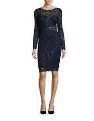 Betsy And Adam Sequined Lace Sheath Dress Navy
