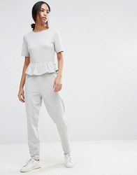 Asos T Shirt Jersey Jumpsuit With Ruffle Peplum Grey