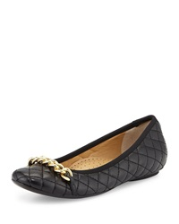 Neiman Marcus Shandra Quilted Ballet Flat Black
