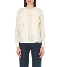 See By Chloe Pleated Chiffon Blouse Cloud White