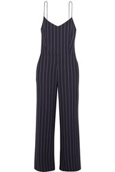 Ganni Oakwood Striped Twill Jumpsuit Midnight Blue