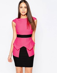 Vesper Suki Pencil Dress With Peplum And Contrast Waistband Pink