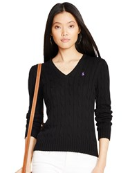 Polo Ralph Lauren Kimberly V Neck Cable Knit Jumper Black Polo Black