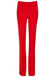 Victoria Beckham Red Flared Wool Blend Trousers