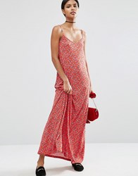 Asos Strappy Maxi Dress In Ditsy Floral Print Multi