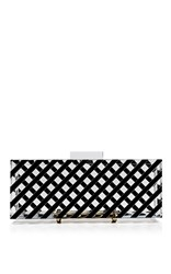L'afshar Large Bowie Clutch Black White