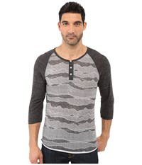 Alternative Apparel Printed 3 4 Raglan Henley Black Ridge Eco Black Men's T Shirt Gray