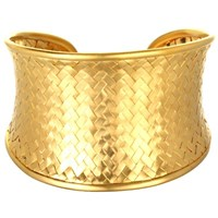 Satya Jewelry Large Basketweave Cuff 24K Gold Plate