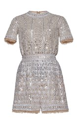 Zuhair Murad Fully Embroidered Nude Tulle Romper Metallic