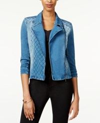 Material Girl Juniors' Quilted Denim Moto Jacket Only At Macy's Medium Wash