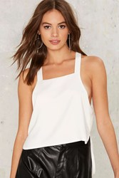 Sky High Low Apron Tank Top White