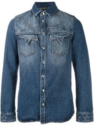 Valentino Star Stitching Western Shirt Blue