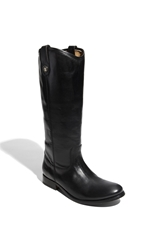 Frye 'Melissa Button' Boot Wide Calf Black Leather Extended Calf