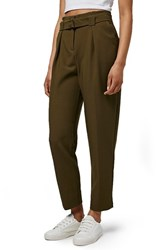 Topshop Women's Grosgrain Belted Peg Trousers Olive