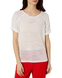 Karen Millen Striped Devore Tee White