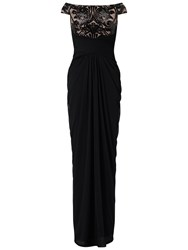 Adrianna Papell Plus Size Off Shoulder Sequin Tulle Gown Black Rose Gold