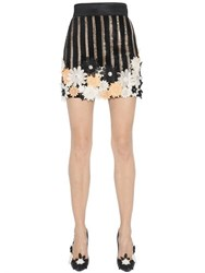 Ungaro Flower Appliques And Sequined Crepe Skirt