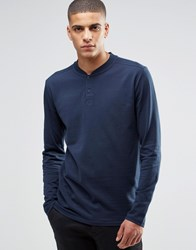 Selected Homme Long Sleeve Top With Baseball Collar Navy Blue