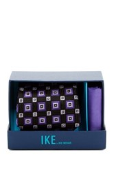 Ike Behar Eugene Squares Silk Tie And Handkerchief Black