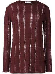 Alexander Wang Distressed Knit Sweater Red