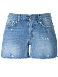 7 For All Mankind Frayed Denim Shorts Blue