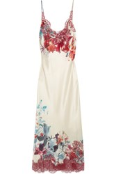 Carine Gilson Chantilly Lace Trimmed Printed Silk Satin Nightdress Ivory