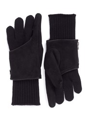 The Viridi Anne Detachable Suede Cover Fingerless Gloves Black