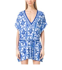Michael Kors Tie Dye V Neck Tunic Royal