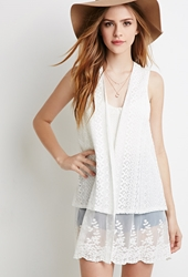 Forever 21 Embroidered Lace Mesh Paneled Vest Cream Cream