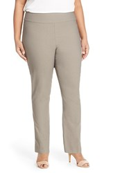 Nic Zoe Plus Size Women's 'Wonder Stretch' Straight Leg Pants Mushroom